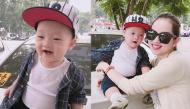 Con trai Ly Kute cười tươi, lộ hai chiếc răng mới nhú