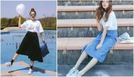 Những cách mix&match cho các cô nàng yêu thích chân váy midi