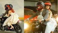 Clip đón dâu bá đạo: Chú rể Kelvin Khánh cưỡi mô tô, cô dâu Khởi My sung sướng cười híp mắt