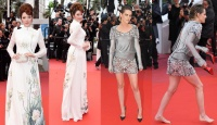 Thảm đỏ Cannes: Lý Nhã Kỳ kiêu sa quý tộc trong tà áo dài, Kristen Stewart cởi giày đi chân đất