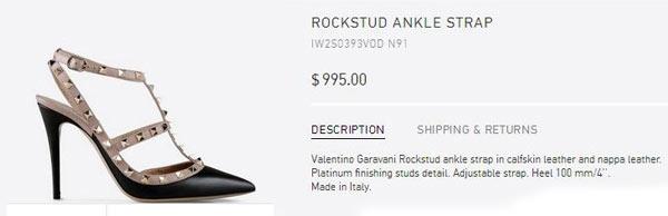 Thoại Liên hoàn thiện set đồ bằng đôi giày Valentino Rockstud gắn đinh tán 995 USD (hơn 22 triệu đồng).