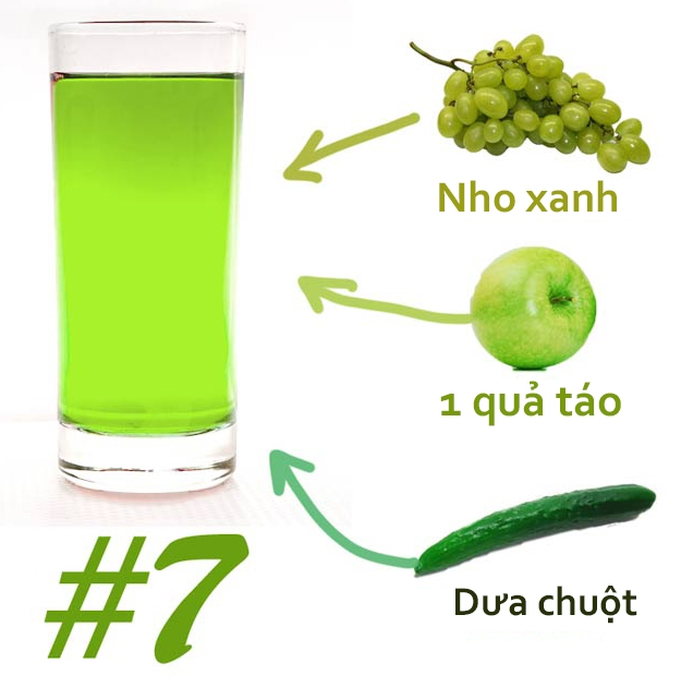 Cach pha 7 loai nuoc detox giam can tot nhat hien nay