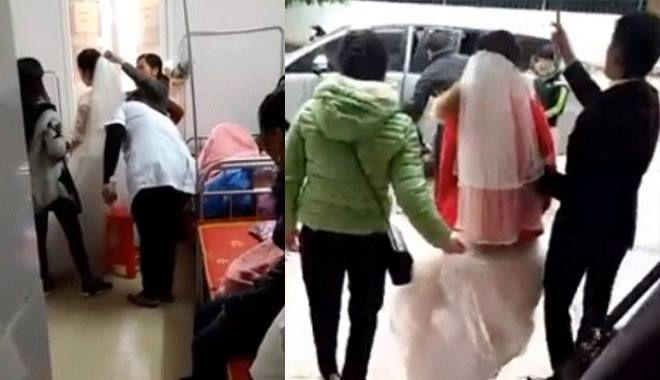 Sản phụ mặc áo cưới chạy thẳng đến lễ cưới sau khi sinh em bé nửa ngày