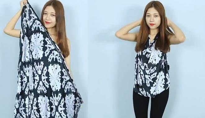 6 tuyệt chiêu đơn giản biến khăn quàng thành váy áo sành điệu