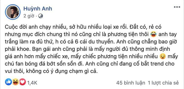 Bị CĐM tố nói kháy Quang Hải, Huỳnh Anh: Anh bắt trend cho vui thôi!