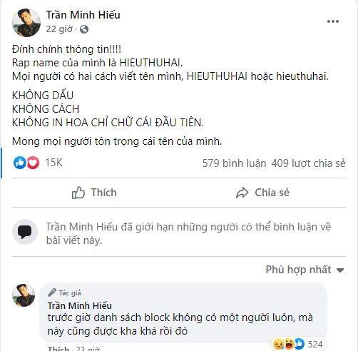 Phản ứng các sao Việt bị gọi sai tên: HIEUTHUHAI block thẳng tay
